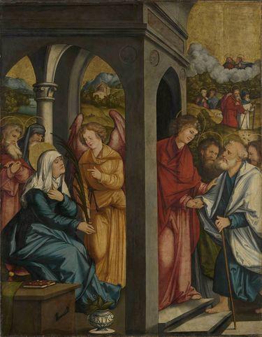 Christgartner Altar: Ein Engel reicht Maria die Palme