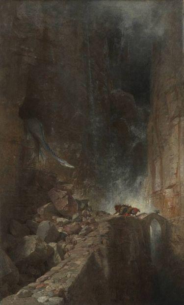Drachen in einer Felsenschlucht